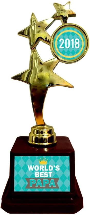 Giftsmate Birthday Gifts For Father Worlds Best Papa Trophy 2018 Golden Star Award