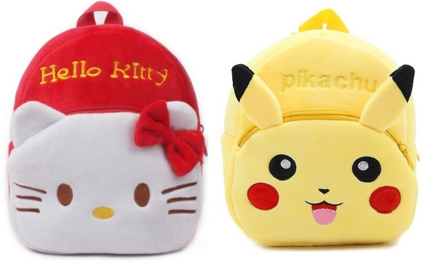 Frantic Red Hello Kitty and Pikachu Velvet School Bag for Nursery Kids, Age  2 to 5 Waterproof Plush Bag (Multicolor, 14 inch) 437dd6748b