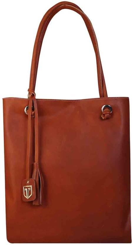 a7a04e4df Tan Luzo TOTE BAGS IN 100% GENUINE FULL GRAIN LEATHER LADIES HANDBAGS HAND  PURSE Shoulder Bag (Orange