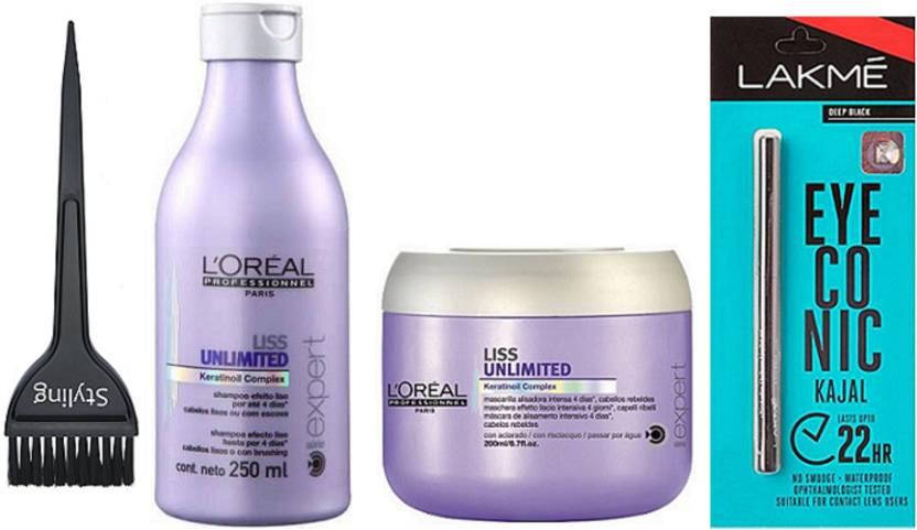 styling Hair Brush & Loreal Liss Unlimited Shampoo & Conditioner & Eyeconic  Kajal Deep Black