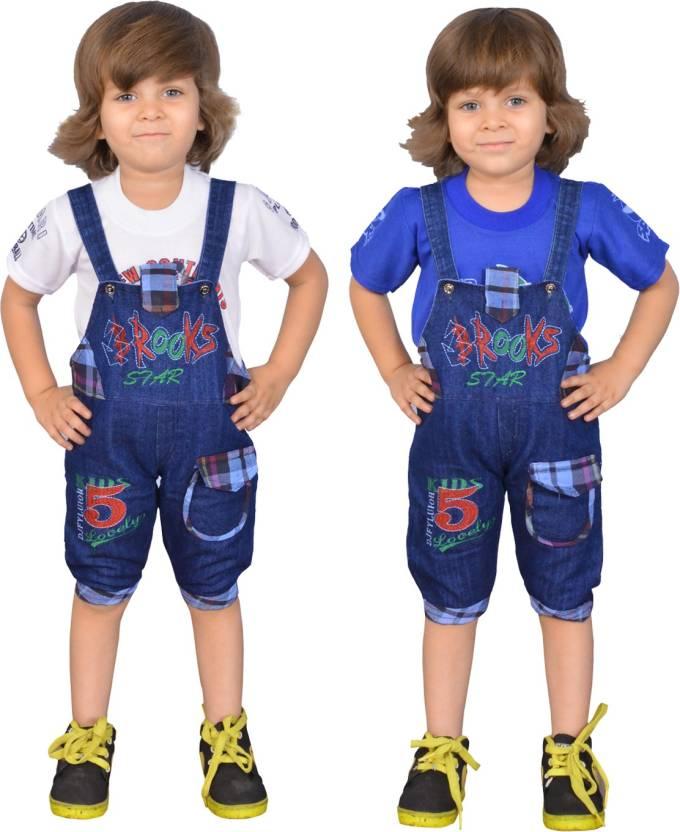 0fca79c32 Smart Kids Dungaree For Boy's & Girl's Casual Self Design Denim  (Multicolor, Pack of 2)