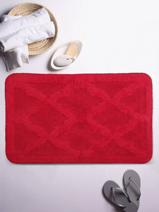 Lushomes Cotton Bathroom Mat Red, Large Lushomes Bath Mats