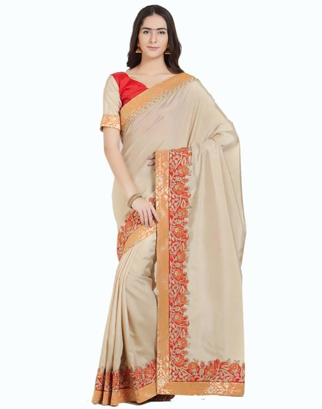 f18aff5f37069f Buy Desi Butik Embroidered Fashion Silk Beige Sarees Online @ Best ...