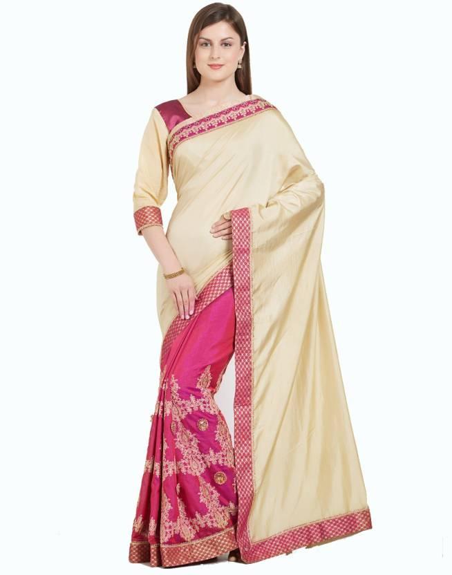 889a90f9dcfeac Buy Desi Butik Embroidered Fashion Silk Beige, Purple Sarees Online ...