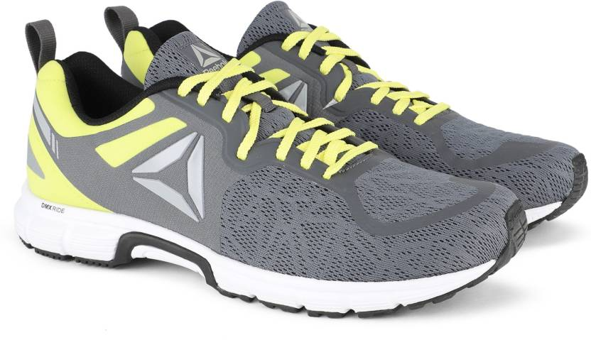 f98f143de827 REEBOK DISTANCE RIDE Running Shoes For Men - Buy GREY HIGH VIS GREEN ...