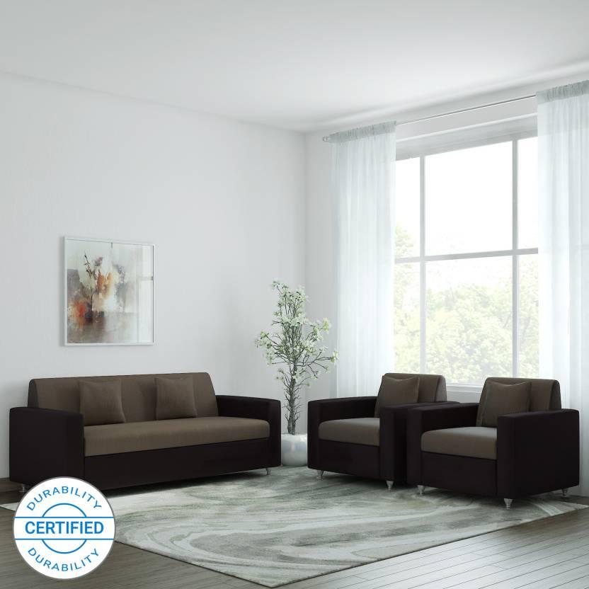 Westido Fabric 3 1 Brown Light Sofa Set
