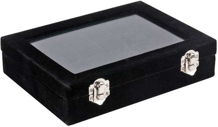 1eb6068bb SYGA 24 Section Velvet Glass Jewelry Ring Display Organiser Box Tray Holder  Earrings Storage Case (Black) Jewellery Storage Box Vanity Box (Black)