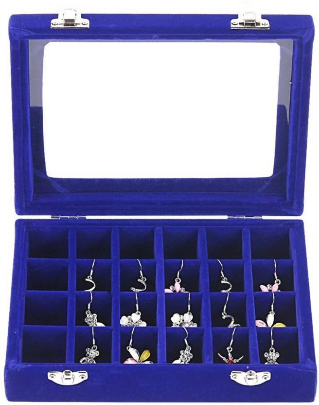 a2fd583d7 SYGA 24 Section Velvet Glass Jewelry Ring Display Organiser Box Tray Holder  Earrings Storage Case (Blue) Jewellery Storage Box Vanity Box (Blue)