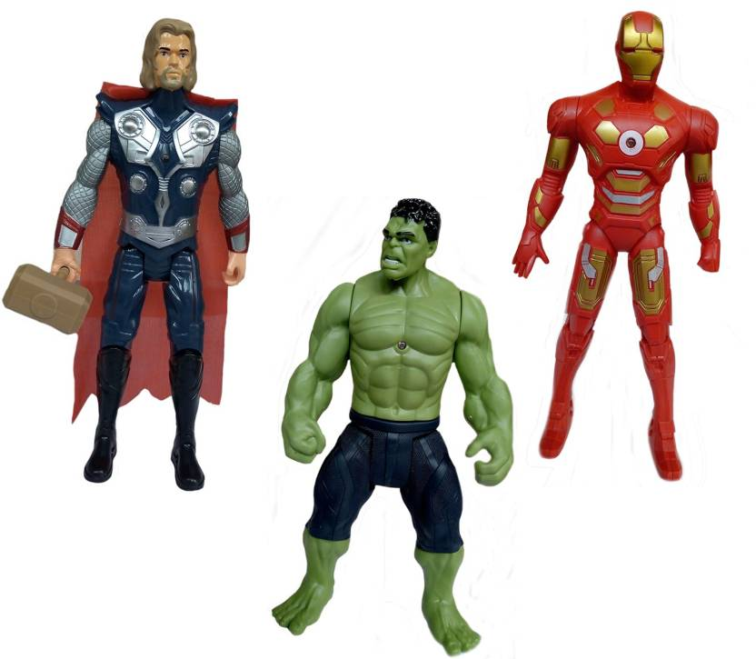 Speoma HULK, IRON MAN AND THOR AVENGERS SUPERHEROES ACTION FIGURES TOYS FOR  KIDS WITH LED LIGHTING [25CM]