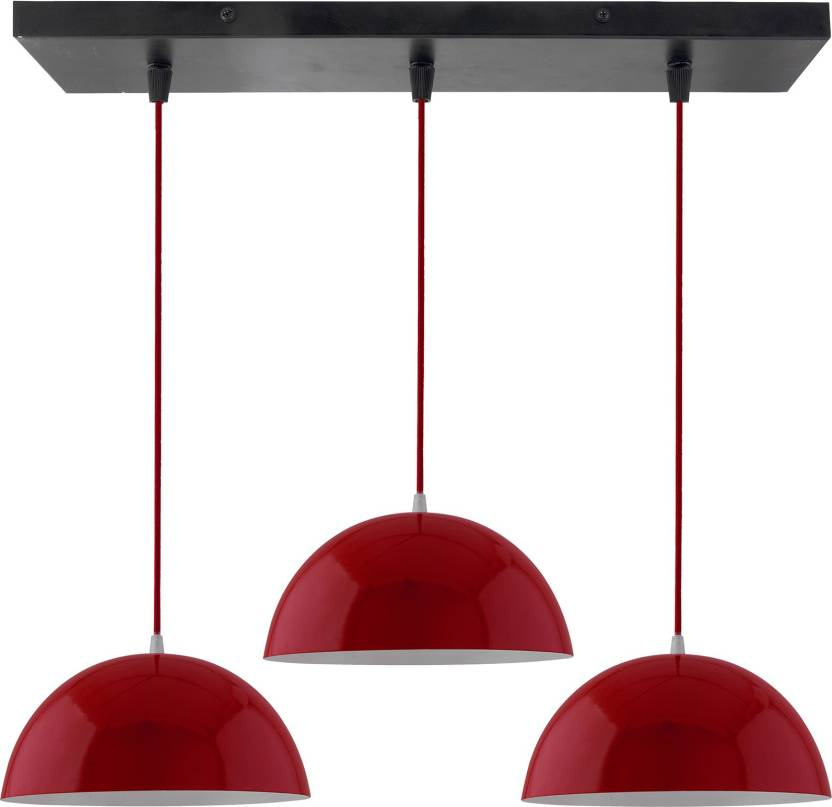 Homesake 3 Lights Linear Cluster Chandelier Red Hanging Pendant Light Kitchen Area And Dining Room LED Filament Ceiling Lamp Price