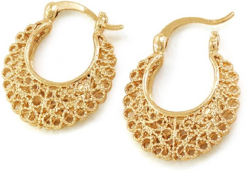 Silverstoli Attractive Design Gold Plated Hollow Jewellery For Women S Daily Party Wear Alloy Hoop Earring