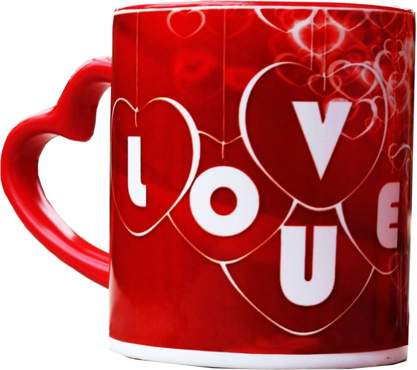 Vintage India Red I Love You Heart Handle Gifts For Boyfriend Girlfriend Friends Him Her Men Girl Birthday Anniversary Everyday Gift Ceramic Mug 320 Ml