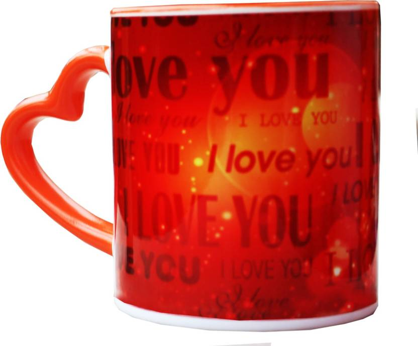 Vintage India Orange I Love You Heart Handle Gifts For Boyfriend Girlfriend Friends Him Her Men Girl Birthday Anniversary Everyday Gift Ceramic Mug 320 Ml
