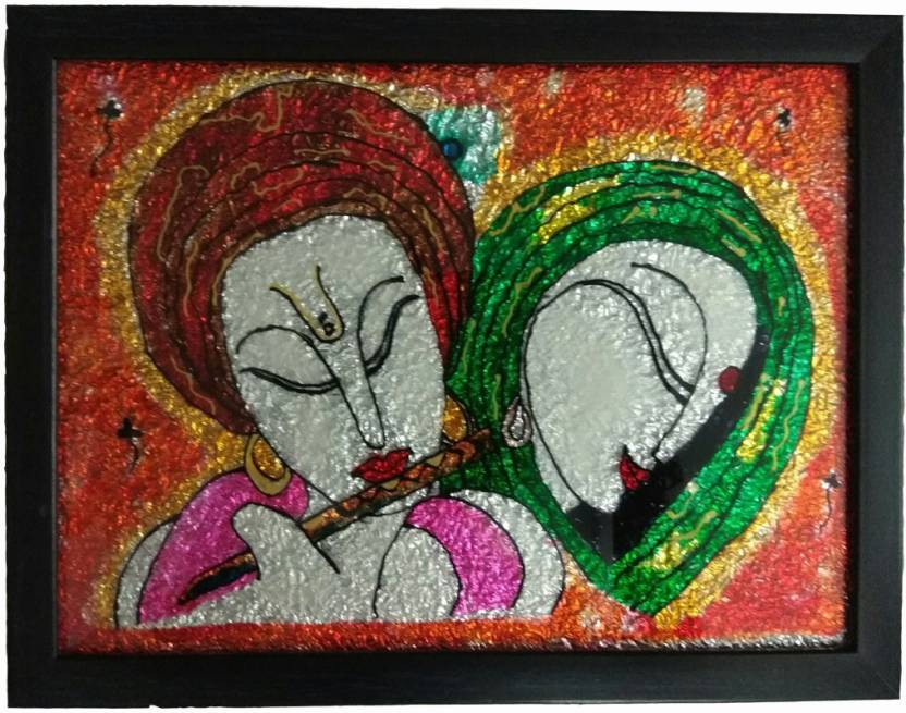 HANDCRAFTED RADHA KRISHNA GLASS PAINTING 3D Poster
