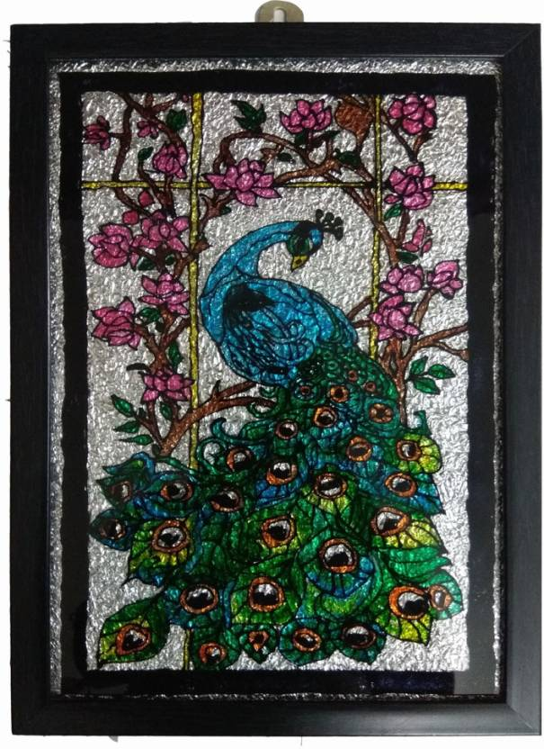 Beautiful Peacock Glass Painting Wall Hanging 3d Poster Animals