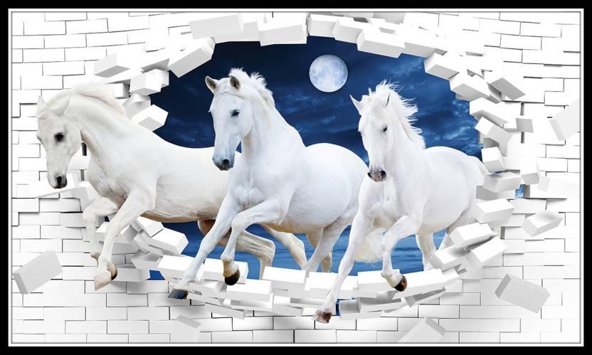 Vastu Poster White 3 Horse Vastu Painting Running Horses Vastu