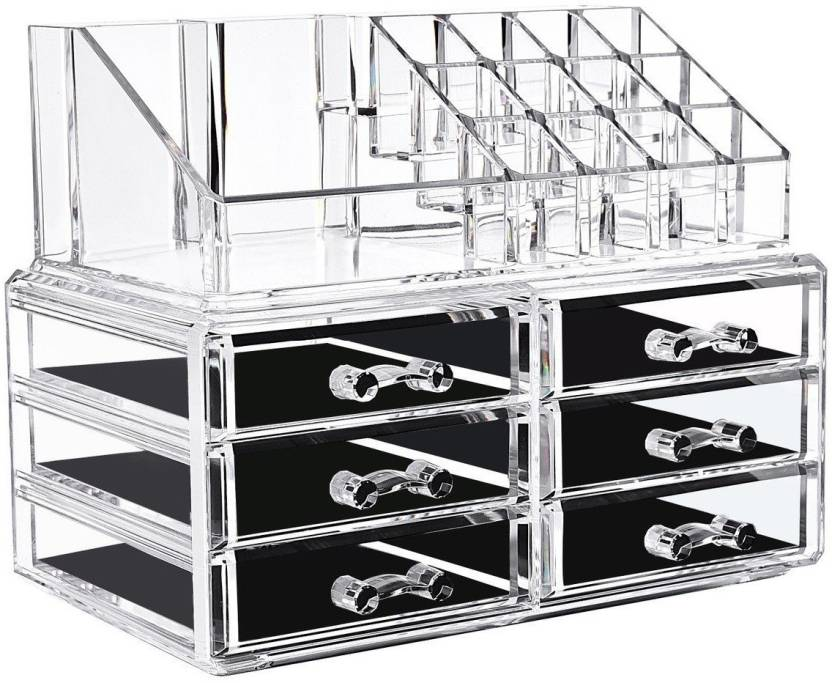 IBS Acrylic Makeup Organizer Storage Box Case Cosmetic Jewelry 6 Drawer Makeup Container Boxes Lipstick Display
