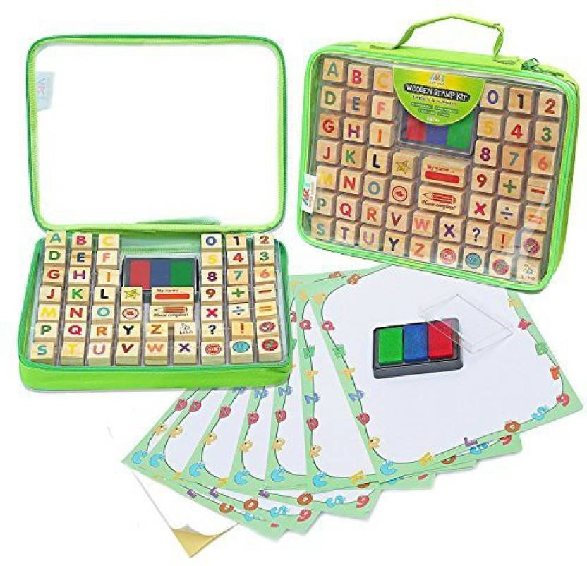 Art With Smile Alphabet Stamp Set Includes 67 Piece Organizer Case Educational Toy For