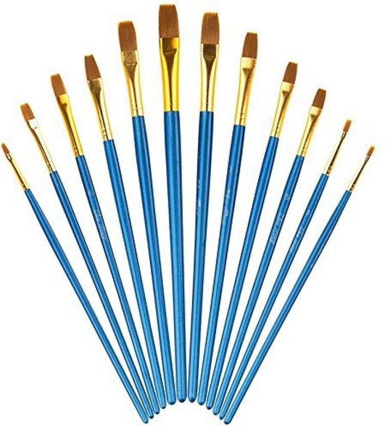 9pcs Artist Flat Paint Brush Set Hog Bristle Hair Paint Brushes for Oil Acrylic
