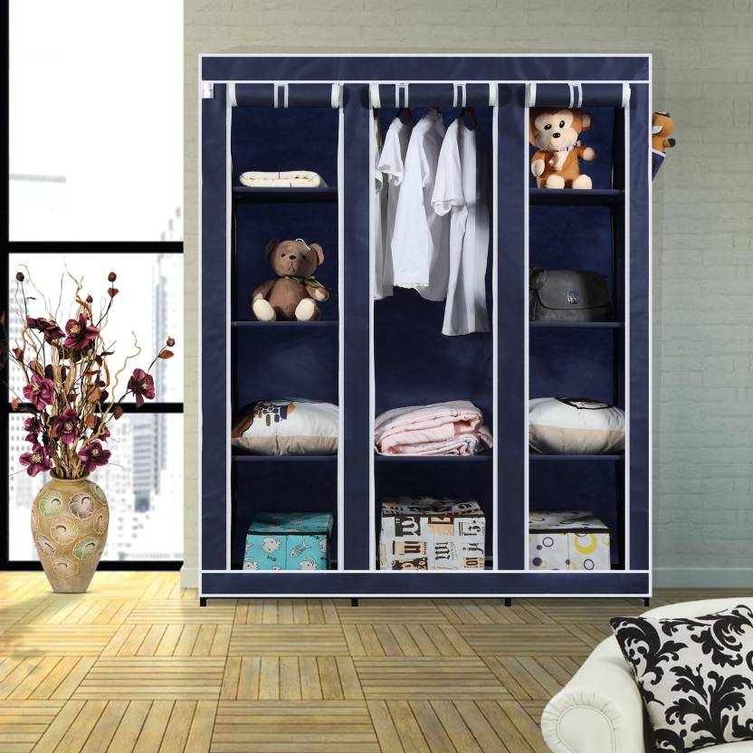 91737bed4bf Flipkart SmartBuy 3 Door 10 Shelf Polyester Collapsible Wardrobe (Finish  Color - Blue)