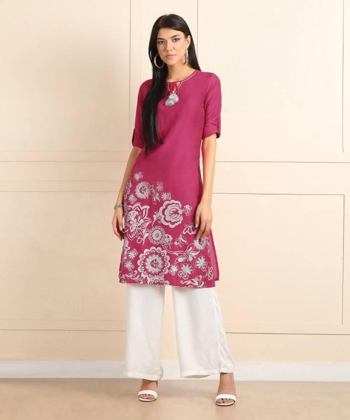 763431cd2 Global Desi Women s Printed Straight Kurta - Buy HOT PINK Global ...