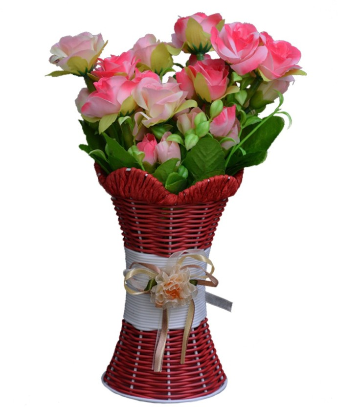 SKY TRENDS Artificial Flowers with Flower Pot | Flower vase for Home Decoration | Flower Pot with Artificial Flowers-006 Plastic Vase (11.5 inch ...  sc 1 th 246 : fake flowers in vase - startupinsights.org