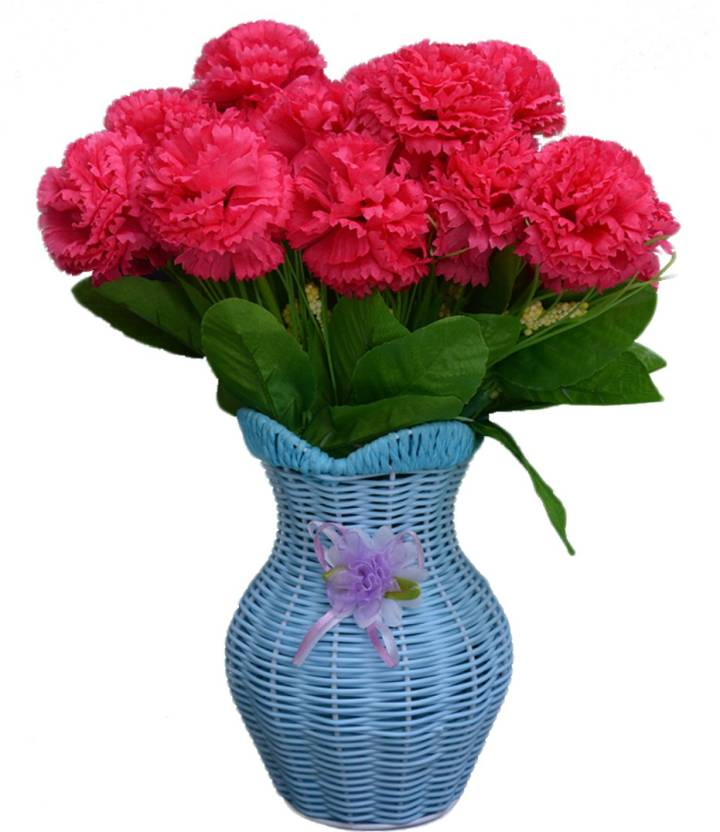 SKY TRENDS Artificial Flowers with Flower Pot   Flower vase for Home Decoration   Flower Pot with Artificial Flowers-048 Plastic Vase (11.5 inch, ...