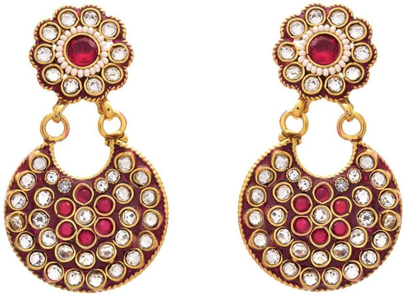 Jfl Jewellery For Less Gold Plated Polki Pink Meenakari Designer Earring Women