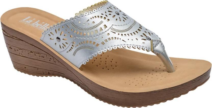 b9aa35332 La Bella Women Silver Wedges - Buy La Bella Women Silver Wedges Online at  Best Price - Shop Online for Footwears in India