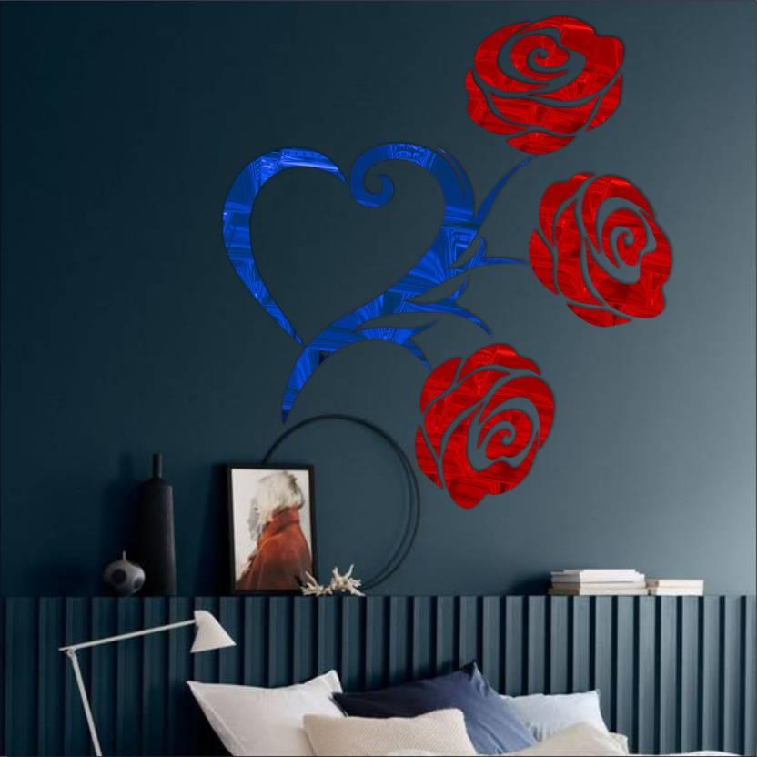 look decor extra large heart rose code1acrylic sticker, 3d acrylic