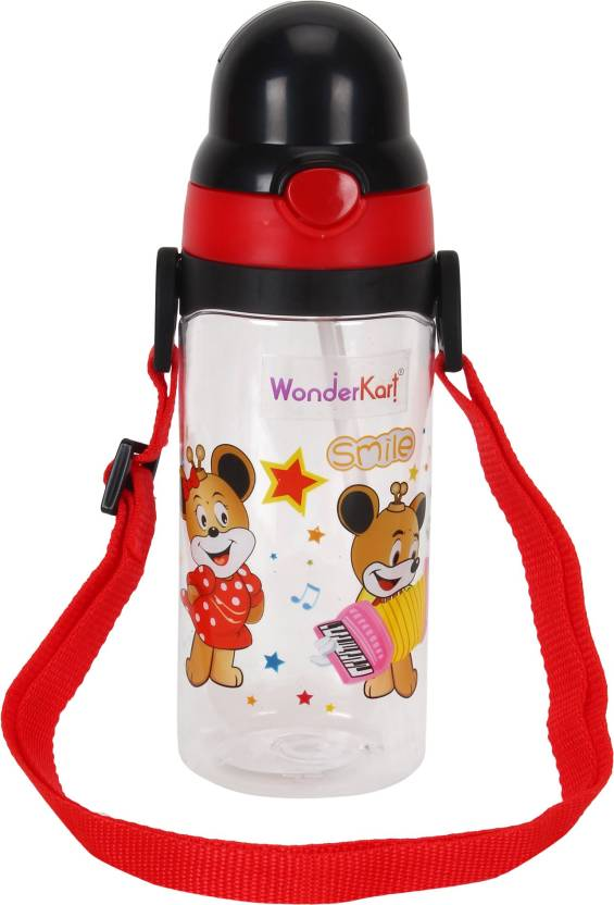 WonderKart Smile Cartoon Printed Kids Sipper Cum Water Bottle With Neck  Strap - Black - 400 ml (Black)