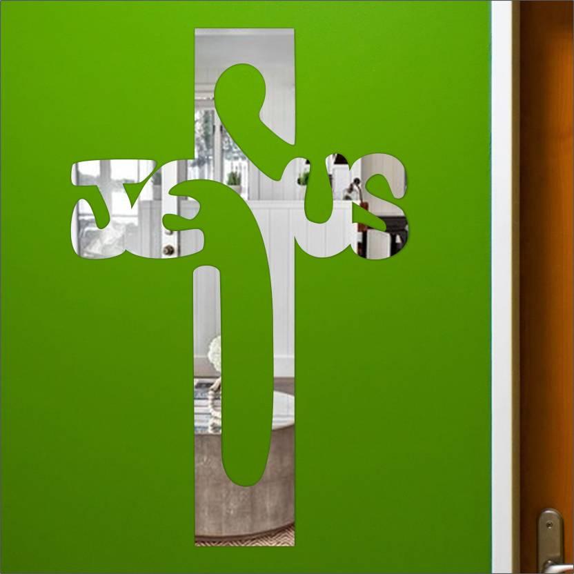 look decor extra large jesus cross silver code 15acrylic sticker, 3d