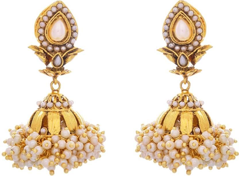16b389bfa JFL-Jewellery For Less JFL- Traditional Ethnic Temple Pearl One Gram Gold  Plated Designer
