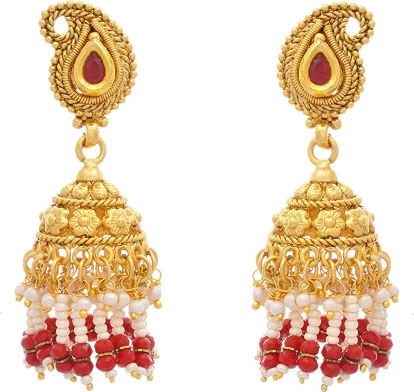 77cc609b9ff Flipkart.com - Buy JFL-Jewellery For Less JFL- Traditional Ethnic One Gram Gold  Plated Red Stone Designer Jhumka Earring for Women   Girls Pearl Copper ...