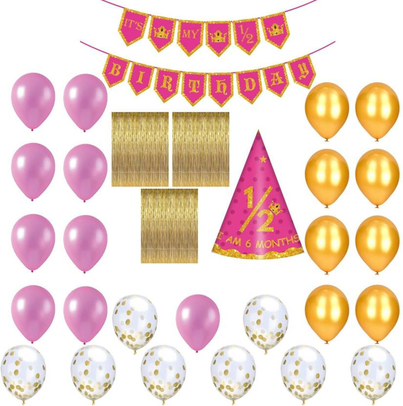 PARTY PROPZ Girls Half Birthday Party Decoration Combo Including 1 Banner 25 Balloons Pic Cap And 3 Golden Foil Curtain Set Of 30