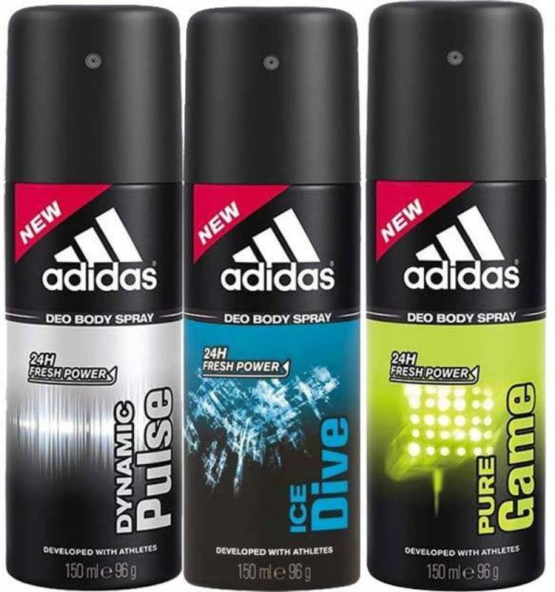 Adidas Dynamic Pulse And Ice Dive Deodorant Body Spray Combo For Men, 150ml (Pack Of 2)
