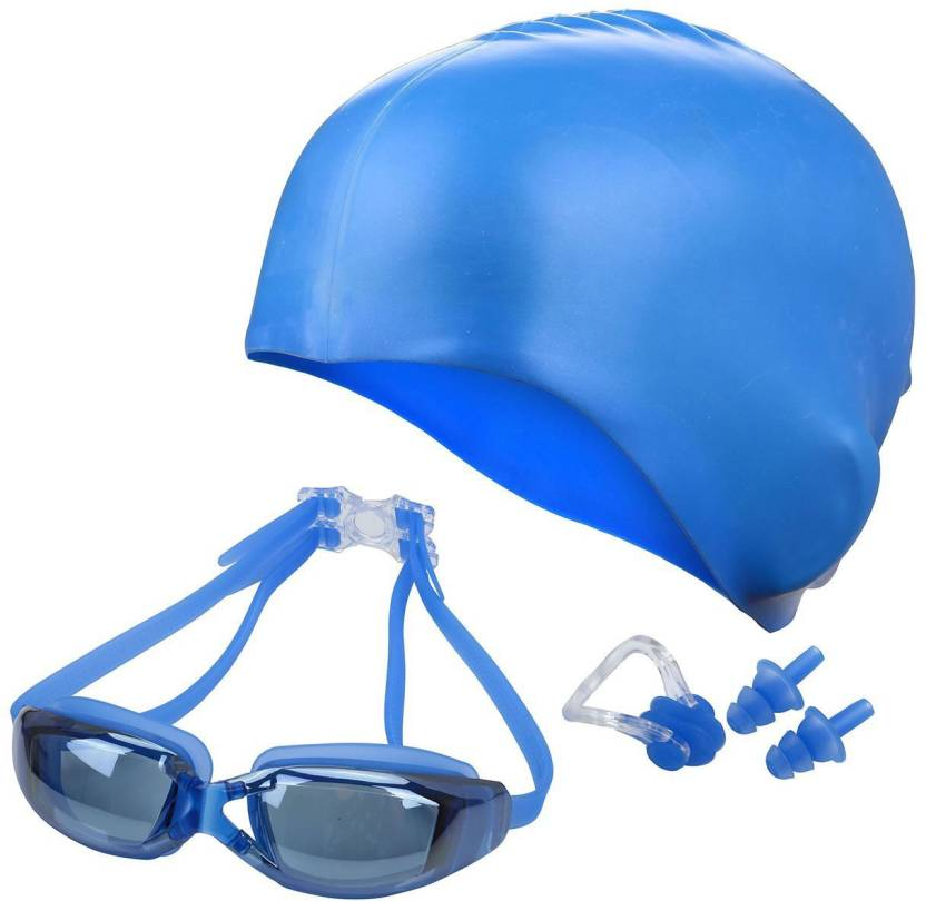b235bb5e23c8 QUINERGYS ™ Moderate Blue - Swimming Goggles+ Nose Clip+ Silicone Swim  Cap+Ear Plugs