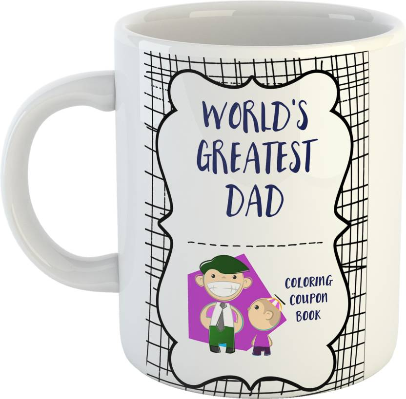 GiftOwl Worlds Greatest Dad Coffee Gift For Father Happy Fathers Day White 330 Ml