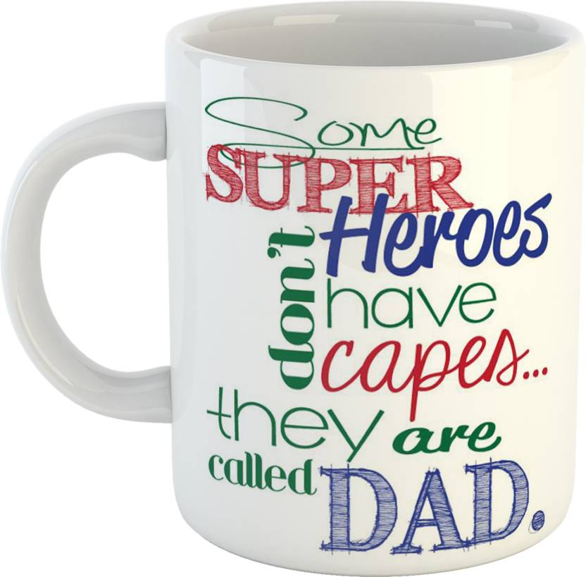 GiftOwl My Super Hero Dady Coffee Gift For Dad Father Happy Fathers Day White