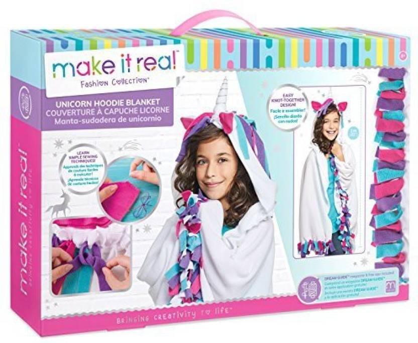 Make It Real Unicorn Hoodie Blanket Wearable Unicorn Hooded Blanket