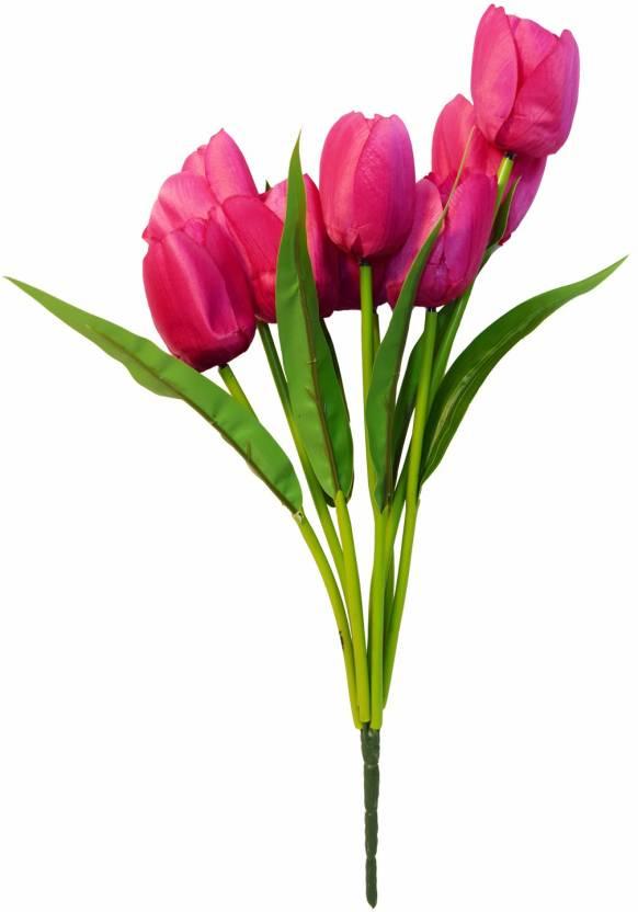 Fourwalls Artificial Fabric Tulip Flower Bouquet 9 Flower 41 Cm