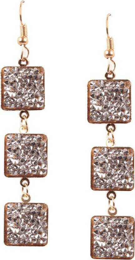 fc41292b9 Flipkart.com - Buy Ayesha Fashion ayesha metallic gold and silver diamante  studded square plate dangle earrings Crystal Crystal Drop Earring Online at  Best ...