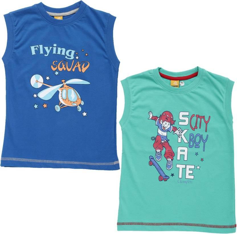 eba6b303 Dollar Champion Kidswear Boys Printed Polyester Cotton Blend T Shirt  (Multicolor, Pack of 2)