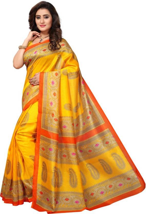 c5703c40c Buy HITESH ENTERPRISE Paisley Mysore Art Silk Yellow Sarees Online ...