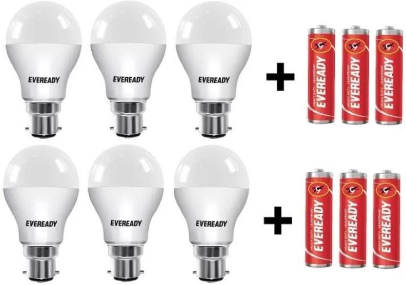 Eveready 10 W Round B22 LED Bulb  (White, Pack of 6)