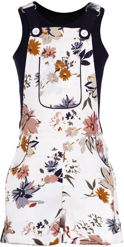 4cbcedbdf Naughty Ninos Dungaree For Girls Casual Floral Print Viscose Price ...
