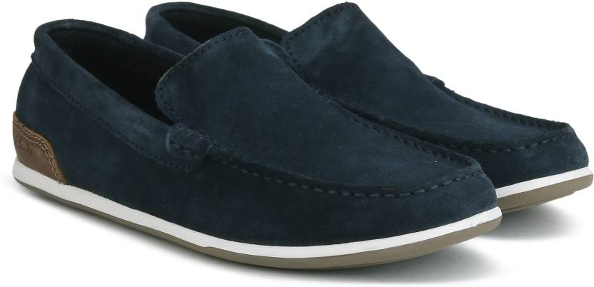 biggest discount modern style latest Clarks MEDLY SUN NAVY SUEDE loafers For Men
