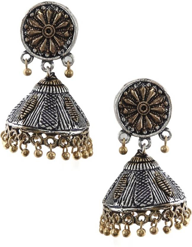 745834333 Flipkart.com - Buy RUBANS Silver Plated Oxidised Dual Tone Royal Jhumka  Earrings Brass Jhumki Earring Online at Best Prices in India