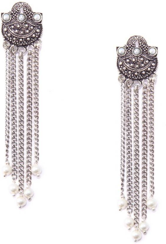 dc60f811a Rubans oxidised silver toned contemporary long chain earrings Brass Drops &  Danglers