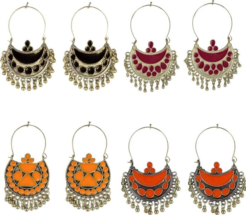 a0621dc46 Flipkart.com - Buy Tripti Oxidized Afgani Beaded Hoop Earrings Combo of  Four German Silver Hoop Earring, Chandbali Earring Online at Best Prices in  India